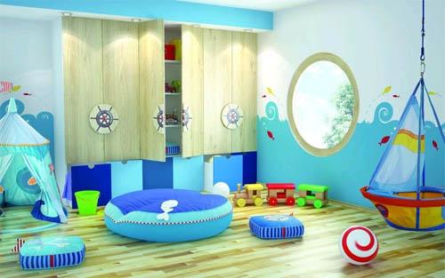 Голубая детская комната: жизнерадостность и легкость