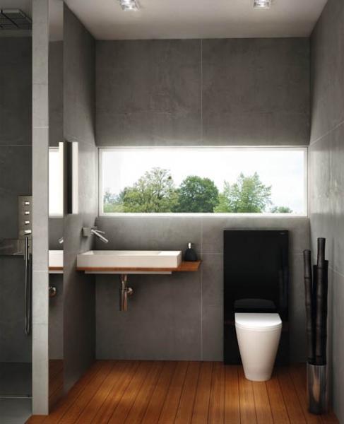 Современный модуль унитаза в стене ванной комнаты