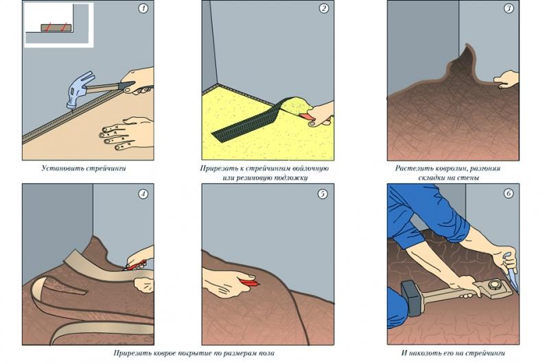 Как класть ковролин: методы крепления покрытия (видео)